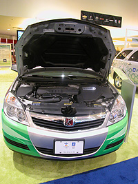 The engine of a Saturn Aura Green Line Hybrid